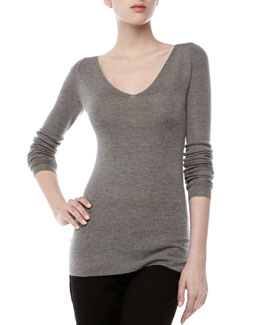 Donna Karan Double-V Cashmere-Silk Knit Top