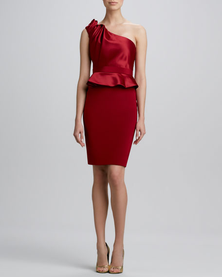 Gathered One-Shoulder Cocktail Dress