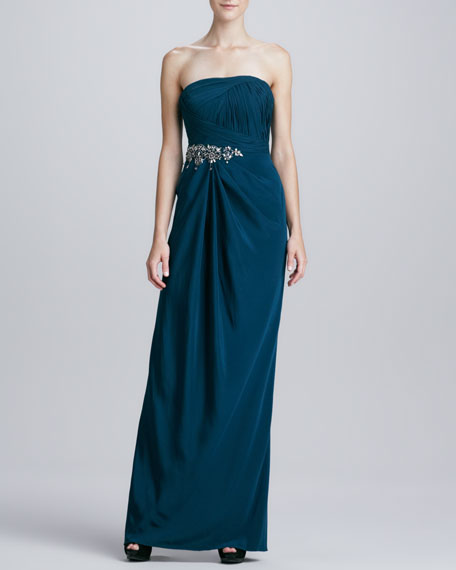 Strapless Beaded-Waist Draped Gown