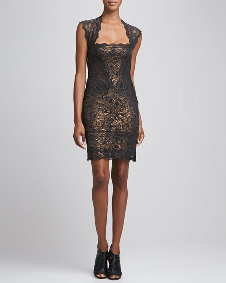 Square-Neck Open-Back Lace Cocktail Dress