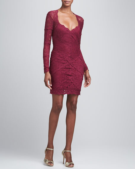 Long-Sleeve Open-Back Lace Cocktail Dress