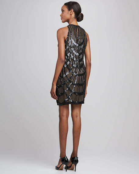 Deco Sequined Cocktail Dress