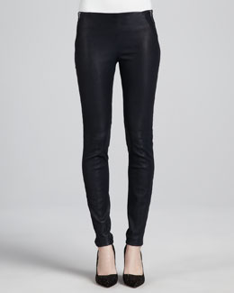 Theory Keil Leather Leggings, Navy