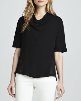 Theory Mandoa Cowl-Neck Blouse