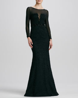 ML Monique Lhuillier Illusion Jewel-Neck Beaded-Waist Gown