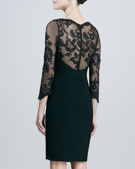 Lace-Top 3/4-Sleeve Cocktail Dress