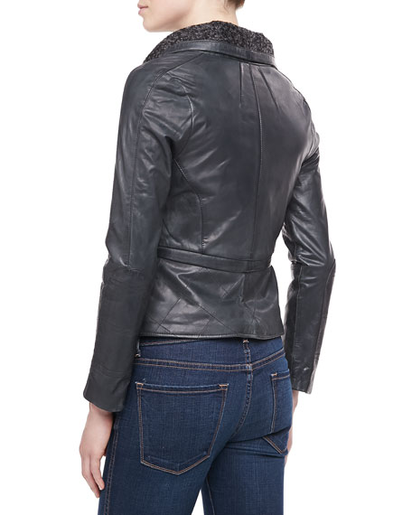 Bagatelle Leather Moto Jacket with Knit Collar