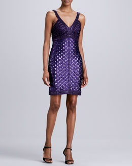 Sue Wong Sequined & Beaded V-Neck Cocktail Dress