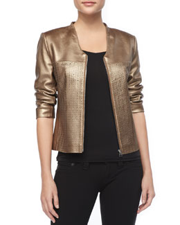 Bagatelle Gold Pinched Leather Jacket