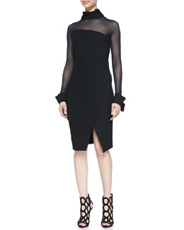 Donna Karan Illusion Asymmetric Long-Sleeve Dress