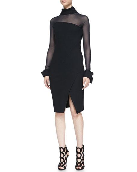 Illusion Asymmetric Long-Sleeve Dress