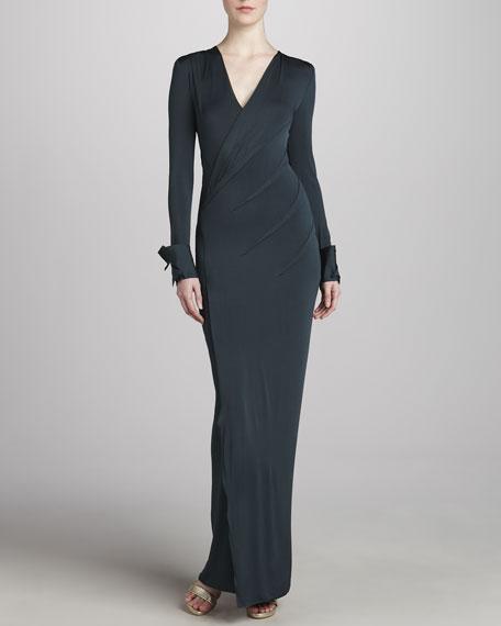 Long-Sleeve Sculpted Jersey Dress, Oilslick
