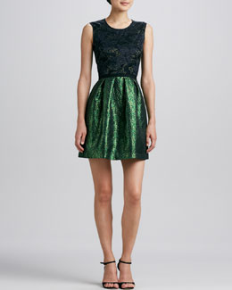 Erin by Erin Fetherston Lace-Bodice Combo Party Dress