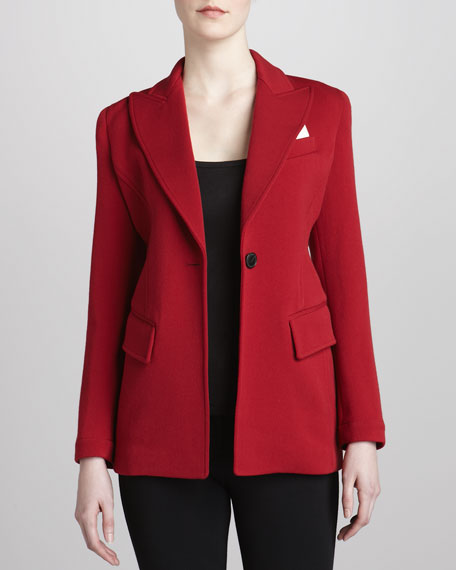 Modern Riding One-Button Jacket, Scarlet