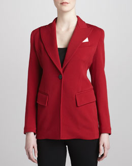 Donna Karan Modern Riding One-Button Jacket, Scarlet