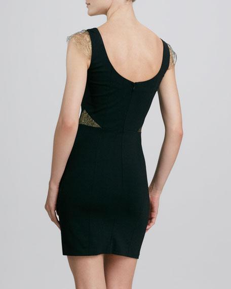 Ponte Lace-Cap-Sleeve Dress