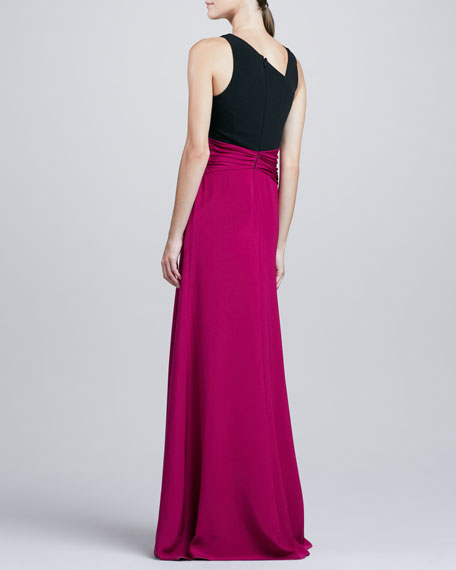 Sleeveless Twisted Colorblock Gown