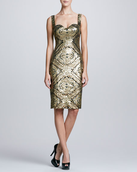 Sleeveless Baroque Sequined Cocktail Dress