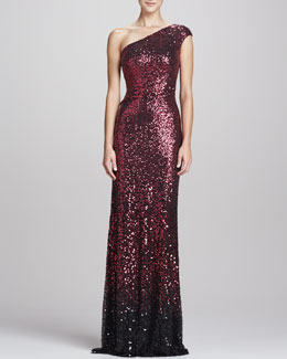 David Meister One-Shoulder Sequined Gown