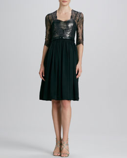 Catherine Deane Lace Belted Tulle-Skirt Dress