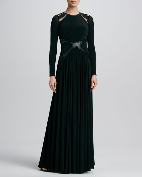 Leather-Trim Long-Sleeve Gown