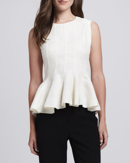 Round-Neck Sleeveless Peplum Top