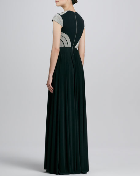 Cutout Beaded-Bodice Gown