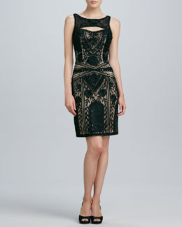 Sue Wong Beaded Keyhole Cocktail Dress