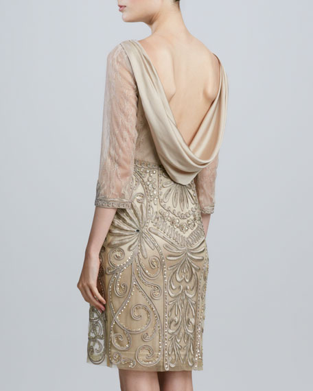Sue Wong Drape-Back Beaded Cocktail Dress