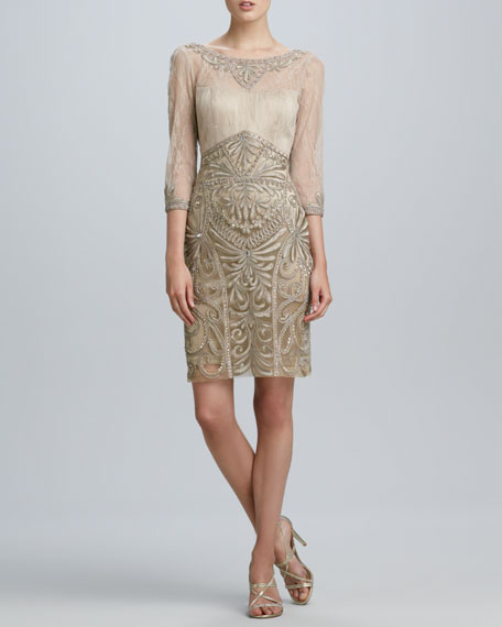 Drape-Back Beaded Cocktail Dress