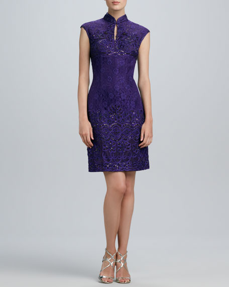 Mandarin-Collar Beaded Lace Dress