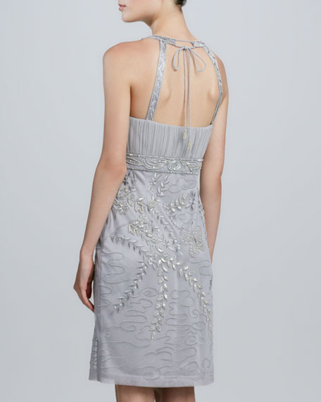 Halter-Style Embroidered & Beaded Cocktail Dress
