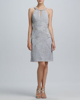 Sue Wong Halter-Style Embroidered & Beaded Cocktail Dress