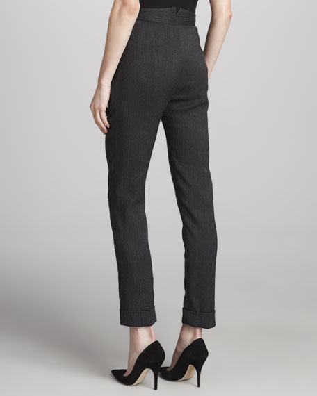 Pinstriped Pleated Side-Zip Pants