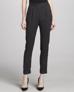 Donna Karan Pinstriped Pleated Side-Zip Pants