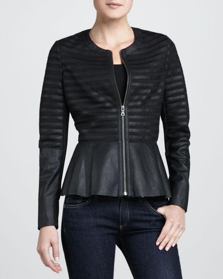 Leather-Strips Peplum Jacket