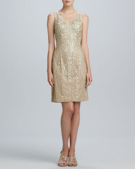 Sleeveless Beaded Cocktail Dress