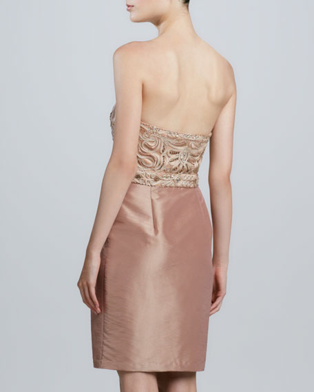 Strapless Beaded-Bodice Cocktail Dress