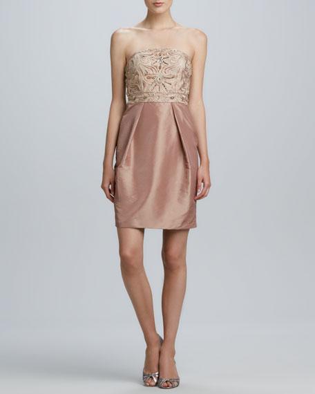 Strapless Beaded-Bodice Cocktail Dress