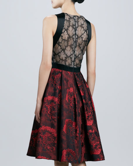 Carmen Marc Valvo Sleeveless Full-Skirt Cocktail Dress