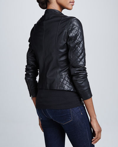 Bagatelle Quilted Leather Motorcycle Jacket