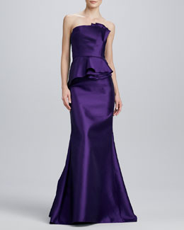 Carmen Marc Valvo Strapless Satin Peplum Gown, Purple