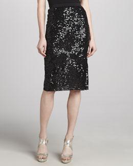 Donna Karan Sequined Embroidered Skirt