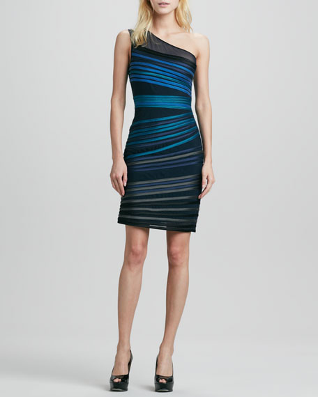 One-Shoulder Duchesse Stripe Dress