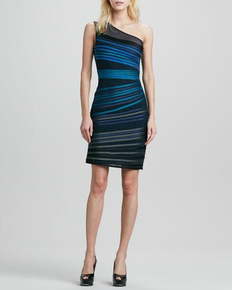 One-Shoulder Duchesse Stripe Dress