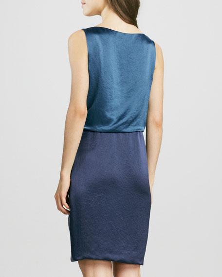Sleeveless Colorblock Draped Dress