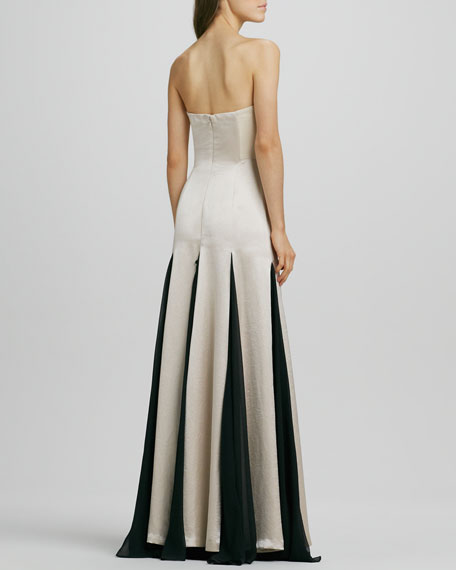 Strapless Sheer-Inset Gown