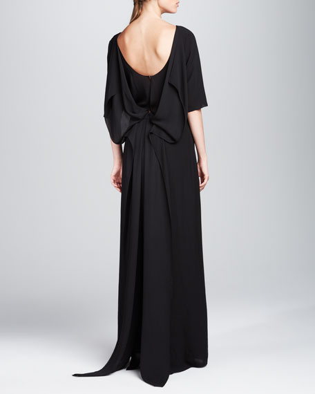 Half-Sleeve Draped-Back Gown