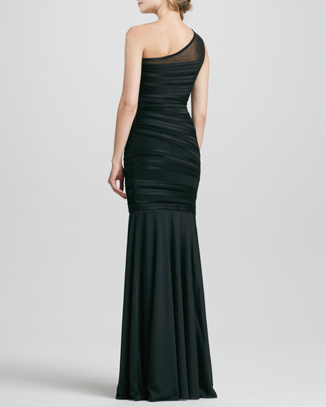 995e503e175c3 Halston Heritage One-Shoulder Velvet Striped Gown