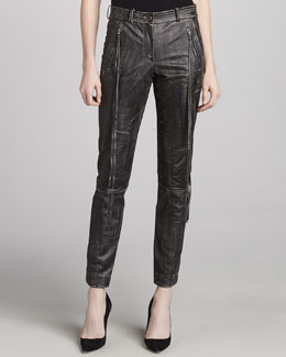 Donna Karan Leather & Jersey Motorcycle Pants, Black